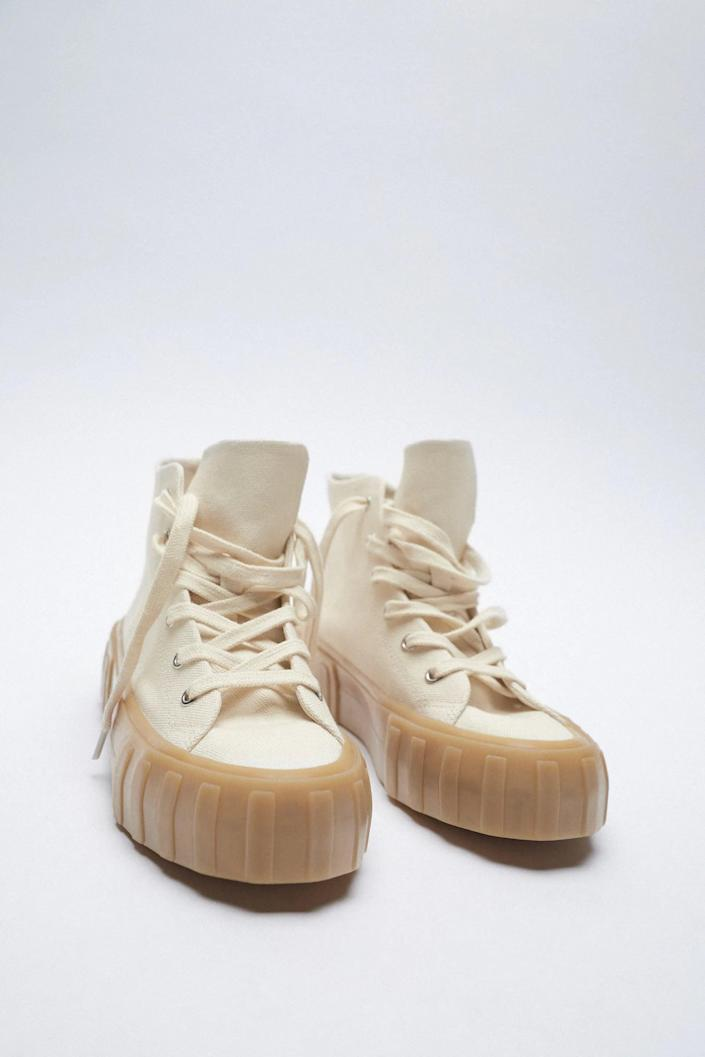 <p>For an everyday look try these <span>Zara Canvas High Top Sneakers</span> ($30, originally $50).</p>