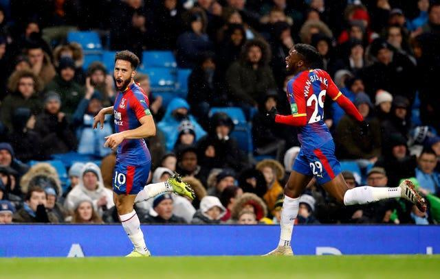 Andros Towsend (left) scored a brilliant goal when Palace won 3-2 at the Etihad Stadium in 2018