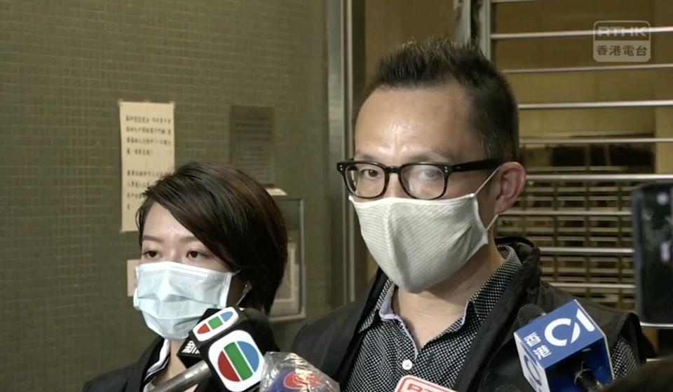Superintendent Lam Chi-yuen (right) briefs the media on the incident in Kwai Chung. Photo: RTHK
