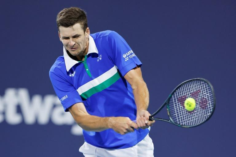 Poland's Hubert Hurkacz on the way to a semi-final win over fourth-seeded Russian Andrey Rublev in the semi-finals of the ATP Miami Masters
