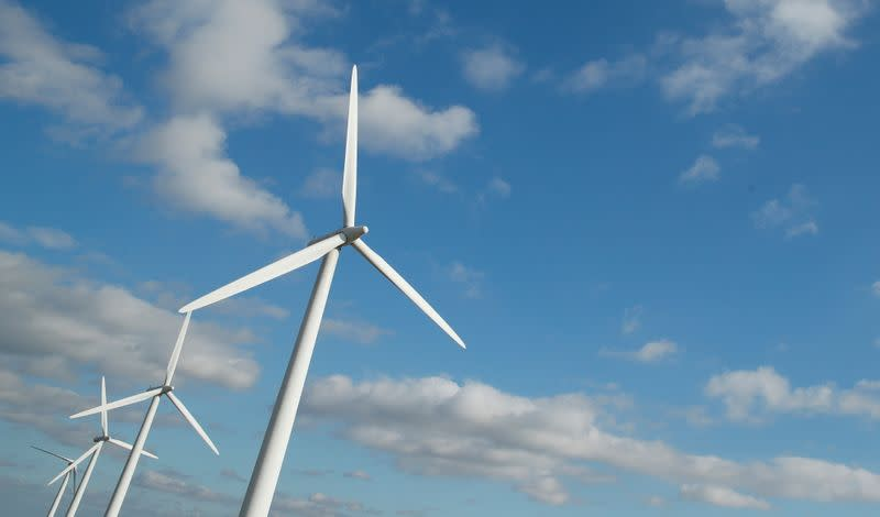 FILE PHOTO: A general view of wind turbines at Westmill Wind Farm & Solar Park