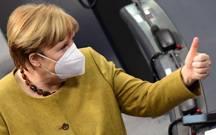 Angela Merkel has previously said she would not take AstraZeneca's jab because it was not recommended for her as a 66-year-old - CLEMENS BILAN/EPA-EFE/Shutterstock