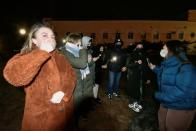 Supporters of jailed Russian opposition politician Alexei Navalny protest in Vladivostok