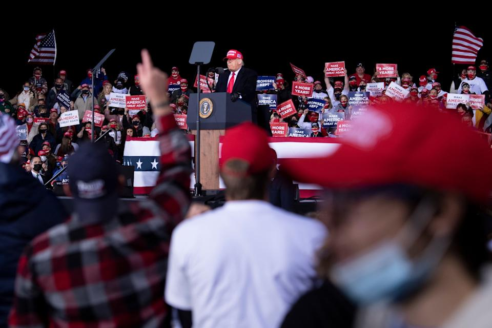President Donald Trump speaks during a rally at Hickory Regional Airport in Hickory, N.C., on Nov. 1, 2020.