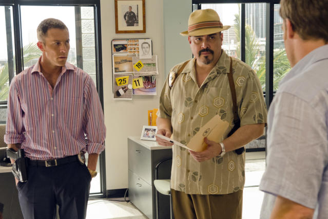 "Desmond Harrington as Joey Quinn and David Zayas as Angel Batista in the ""Dexter"" Season 8 episode, ""Scar Tissue."""