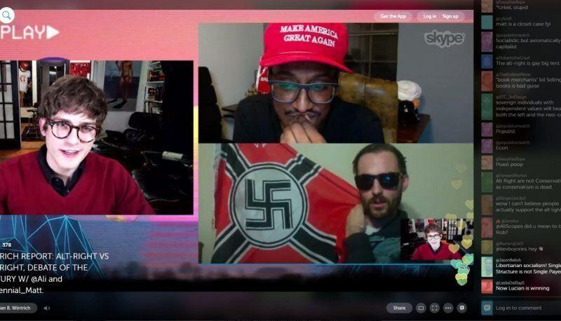 Lucian Wintrich and Ali Alexander host alt-right member Matt Colligan on Wintrich's podcast.  (Photo: Screenshot/Periscope)