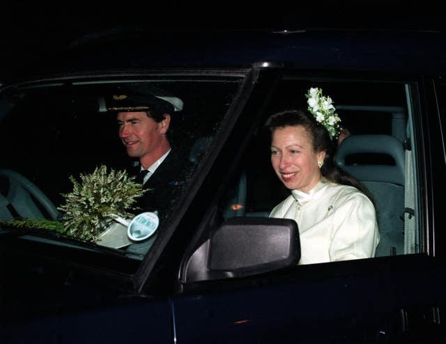 Commander Tim Laurence and the Princess Royal and Timothy Laurence after their 1992 wedding ceremony