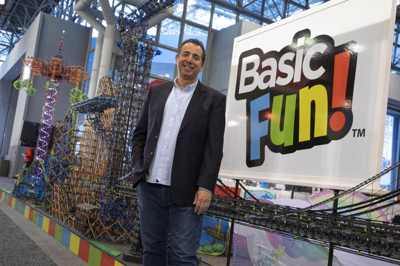 In this Feb. 16, 2019, photo, Jay Foreman, CEO of Basic Fun!, poses for a photo at Toy Fair New York 2019, in New York. For many Americans, President Donald Trump's trade war may soon get very real. Foreman says Trump's proposed tariffs on toys imported from China could hurt his business. (Andrew Kelly/AP Images for Basic Fun!)