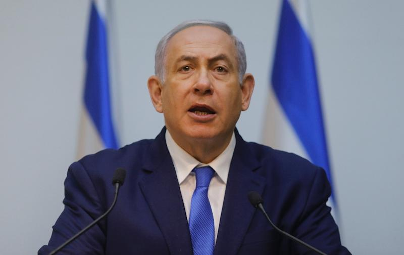 Israeli Prime Minister Benjamin Netanyahu delivers a statement at parliament in this file picture taken on December 19, 2018