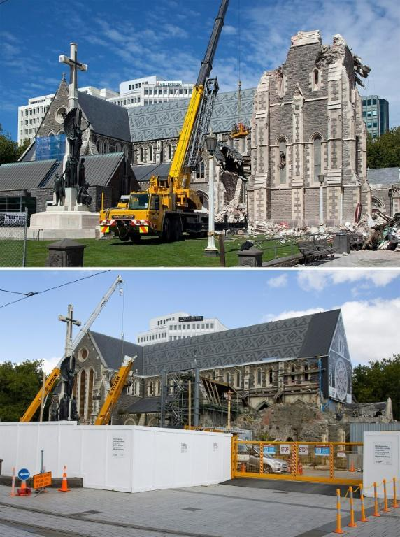Christchurch Cathedral was badly damaged by the earthquake. The above picture was taken two days after the disaster, and below is the same view of the cathedral nearly 10 years after