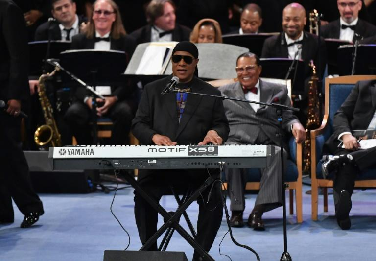 US singer/songwriter Stevie Wonder performs at Aretha Franklin's funeral August 31, 2018 in Detroit, Michigan