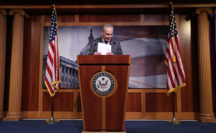 U.S. Senate Minority Leader Chuck Schumer speaks about COVID-19 response during news conference on Capitol Hill in Washington