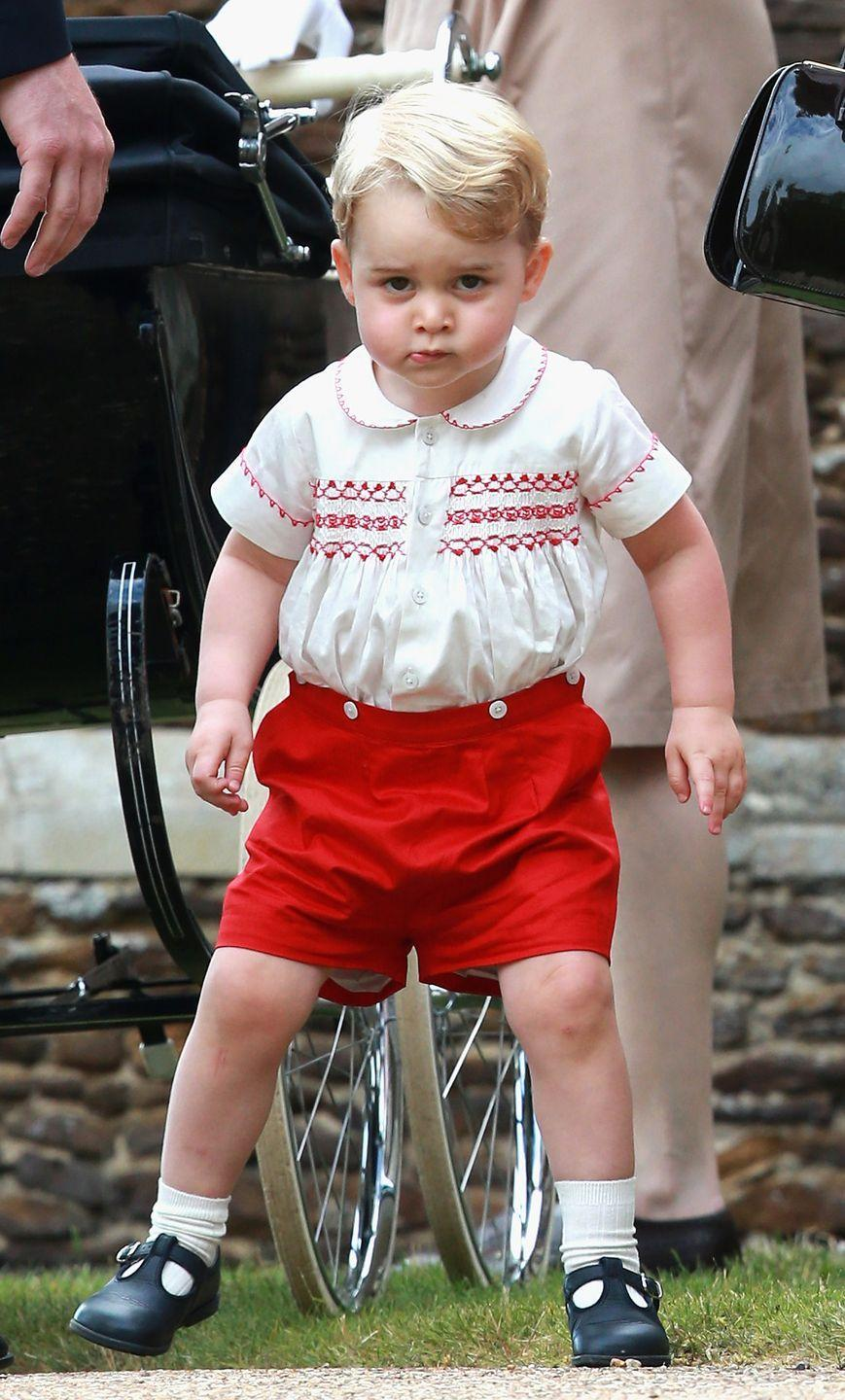 """<p>Prince George, er, """"greets"""" the media following the christening of his baby sister, Princess Charlotte, at the Church of St. Mary Magdalene in Sandringham.</p>"""