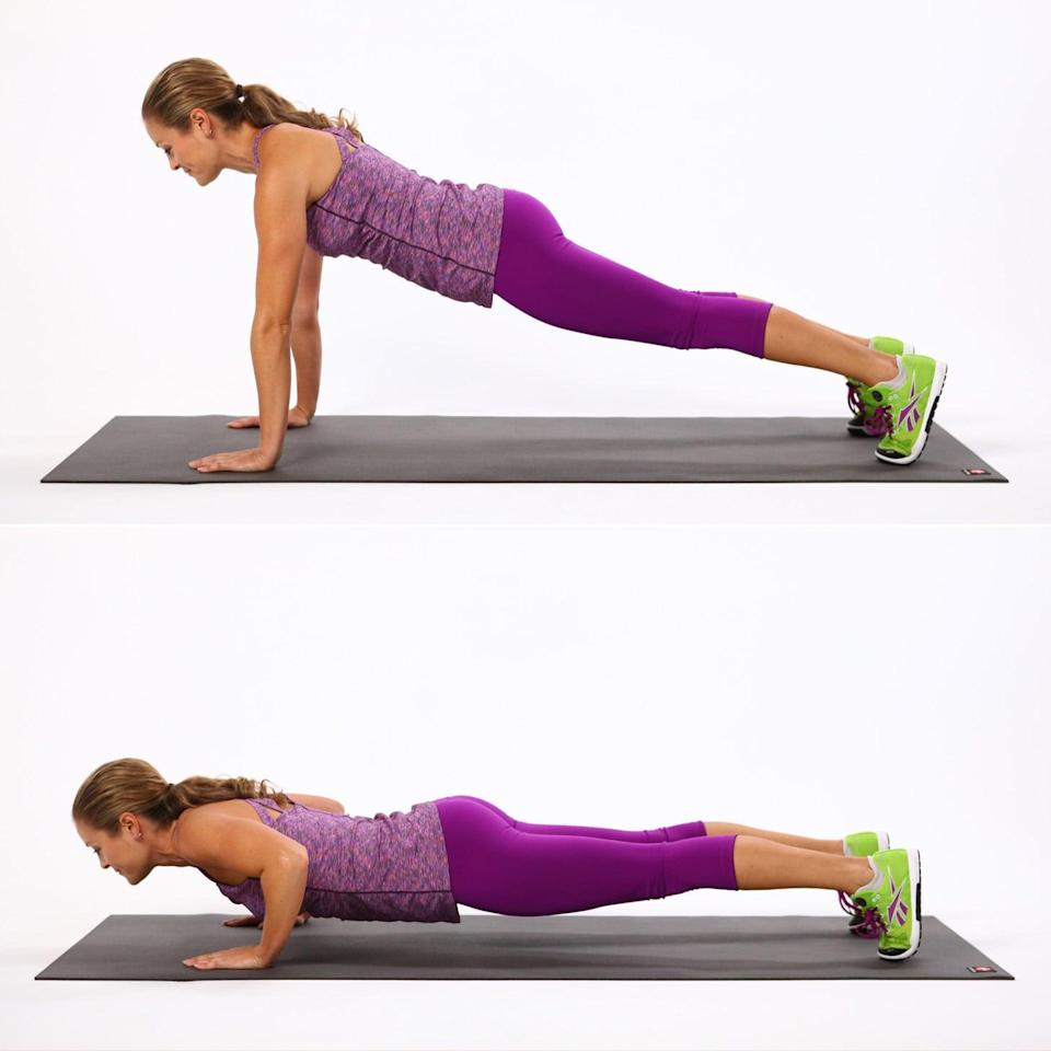 <ul> <li>Start in a plank position with your arms and legs straight, shoulders above your wrists.</li> <li>Take a breath in, and as you exhale, bend your elbows out to the sides and lower your chest toward the ground. Stop as soon as your shoulders are in line with your elbows. Inhale to straighten the arms. This counts as one rep.</li> <li>If this is too difficult, do this exercise with your knees on the floor.</li> <li>Complete for 30 seconds, followed by 10 seconds of rest. Repeat for a total of three rounds.</li> </ul>