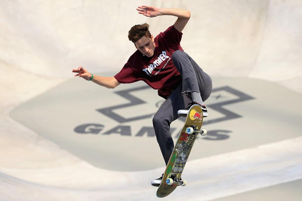 """<p>A well-decorated competitor in both park and street skating, Eaton also holds a world record. According to <a href=""""http://usaskateboarding.com/blogs/2020-usa-skateboarding-national-team/jagger-eaton-mens-street"""" class=""""link rapid-noclick-resp"""" rel=""""nofollow noopener"""" target=""""_blank"""" data-ylk=""""slk:his USA Skateboarding profile"""">his USA Skateboarding profile</a>, at just 11 years old, Eaton set the Guinness World Record as the youngest ever X Games youngest competitor in 2012.</p> <p><strong>Olympic Team:</strong> Men's Skateboard Street</p> <p><strong>Age:</strong> 20</p> <p><strong>Hometown:</strong> Mesa, AZ</p> <p><strong>Instagram:</strong> <a href=""""https://www.instagram.com/jaggereaton"""" class=""""link rapid-noclick-resp"""" rel=""""nofollow noopener"""" target=""""_blank"""" data-ylk=""""slk:@jaggereaton"""">@jaggereaton</a></p>"""
