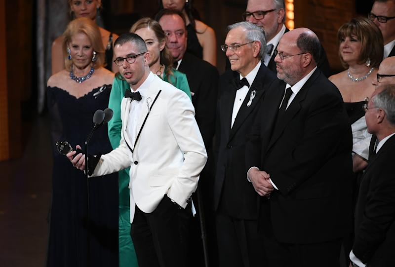 "Stephen Karam accepts the Tony Award for best play for ""The Humans."""
