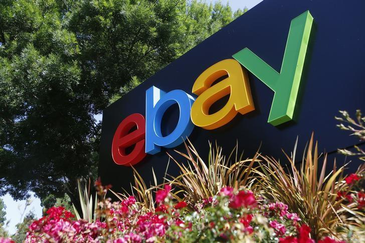 An eBay sign is seen at an office building in San Jose, California