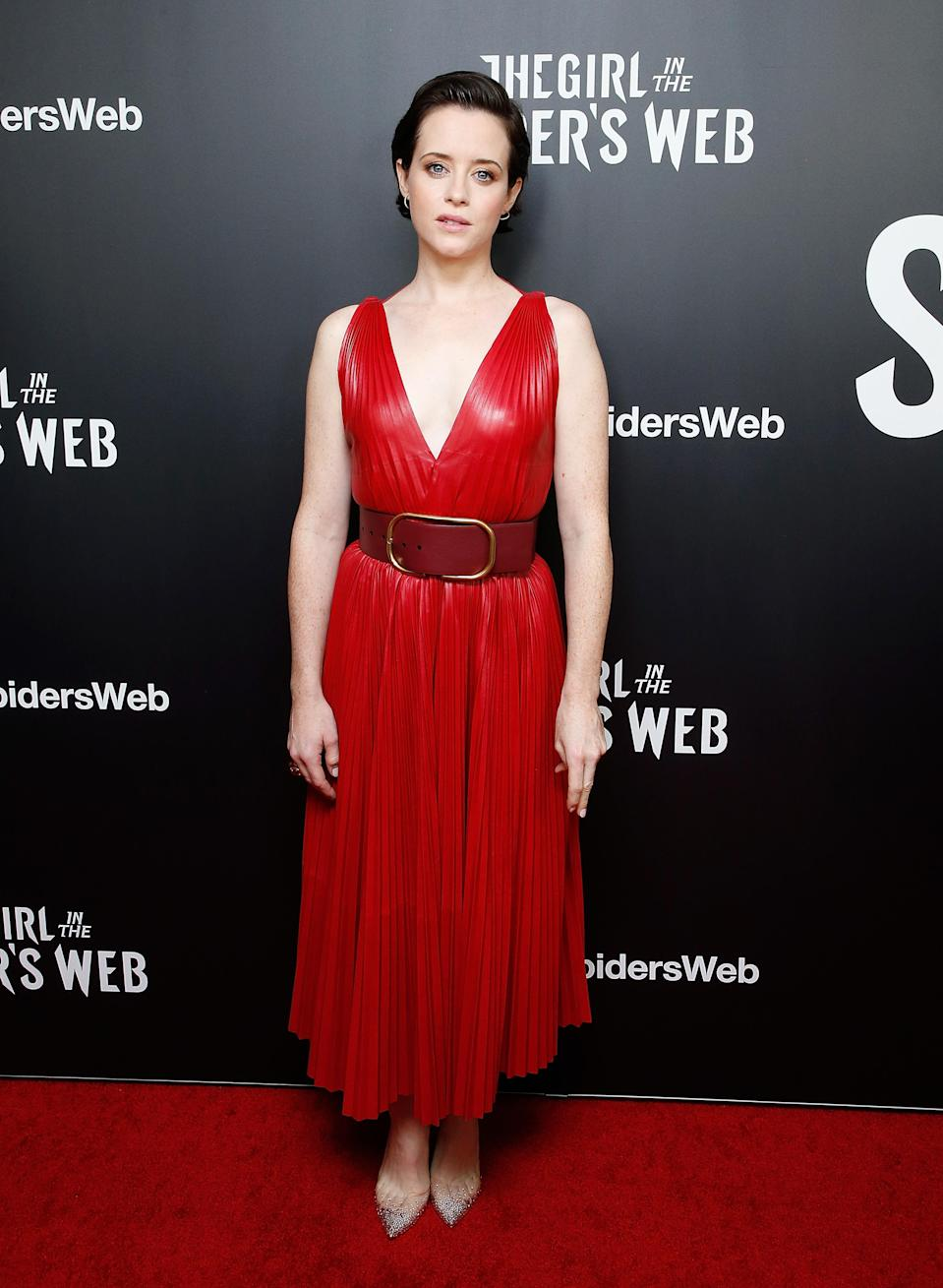 <p>Claire Foy wore a Valentino spring/summer 19 ready-to-wear dress for the New York screening of 'The Girl In The Spider's Web' at Henry Luce Theatre, New York City. <em>[Photo: Getty]</em> </p>