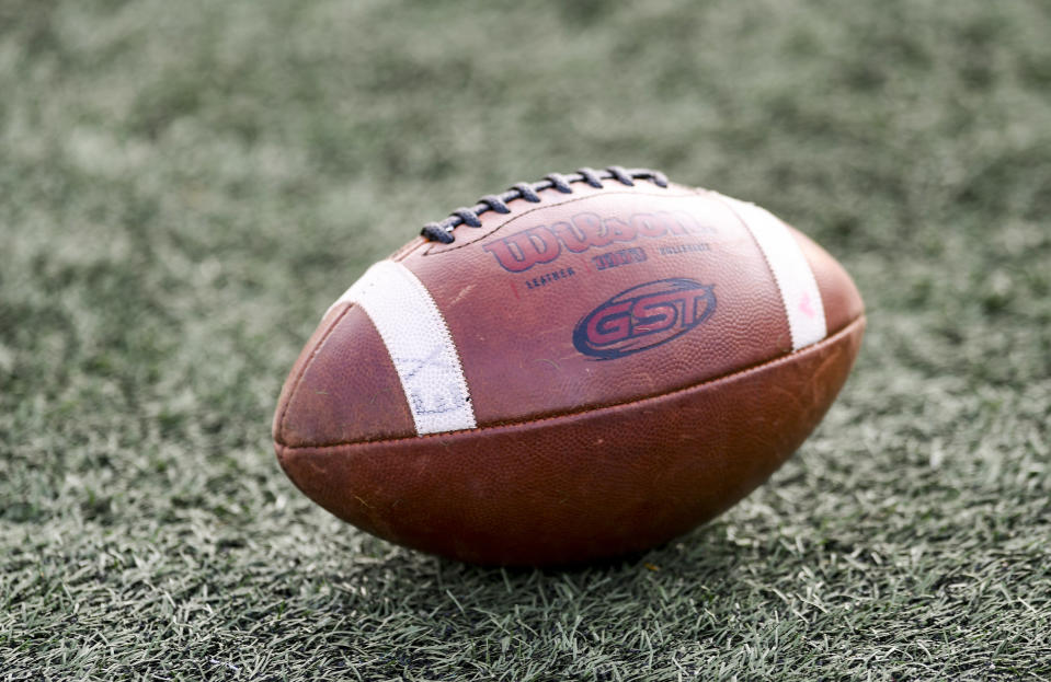 Reiffton, PA - September 10: A football on the field before the start of the game. High School football, the Wilson Bulldogs vs. the Exeter Eagles at Don Thomas Stadium in Reiffton Friday night September 10, 2021. (Photo by Ben Hasty/MediaNews Group/Reading Eagle via Getty Images)
