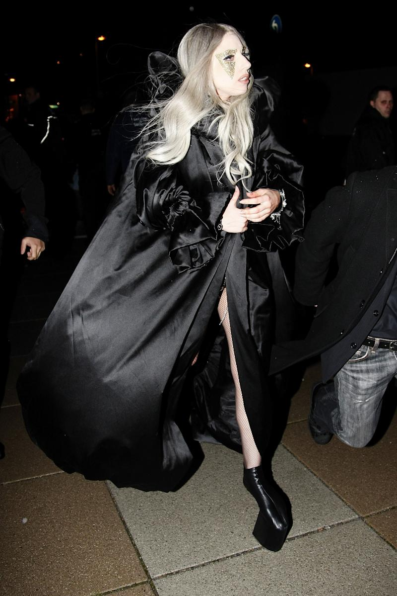 """Leaving her concert at the O2 Arena in Germany at the height of """"Bad Romance"""" fever."""