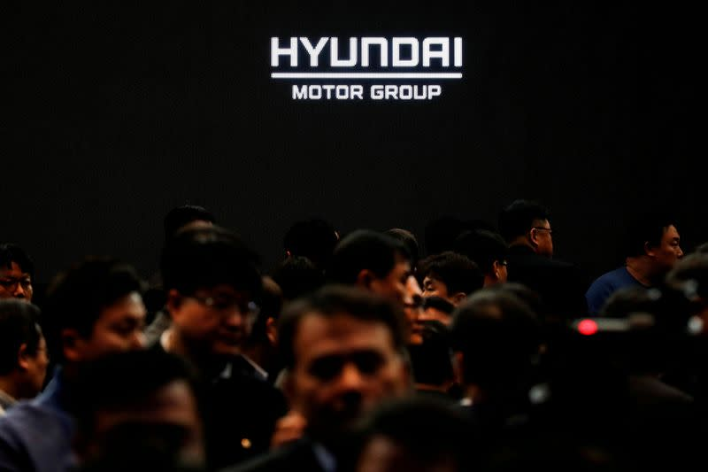 FILE PHOTO: Employees of Hyundai Motor Group leave after the company's new year ceremony in Seoul