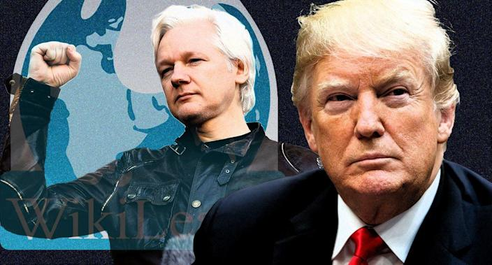 Julian Assange and President Trump (Photo illustration: Yahoo News; photos: AP)