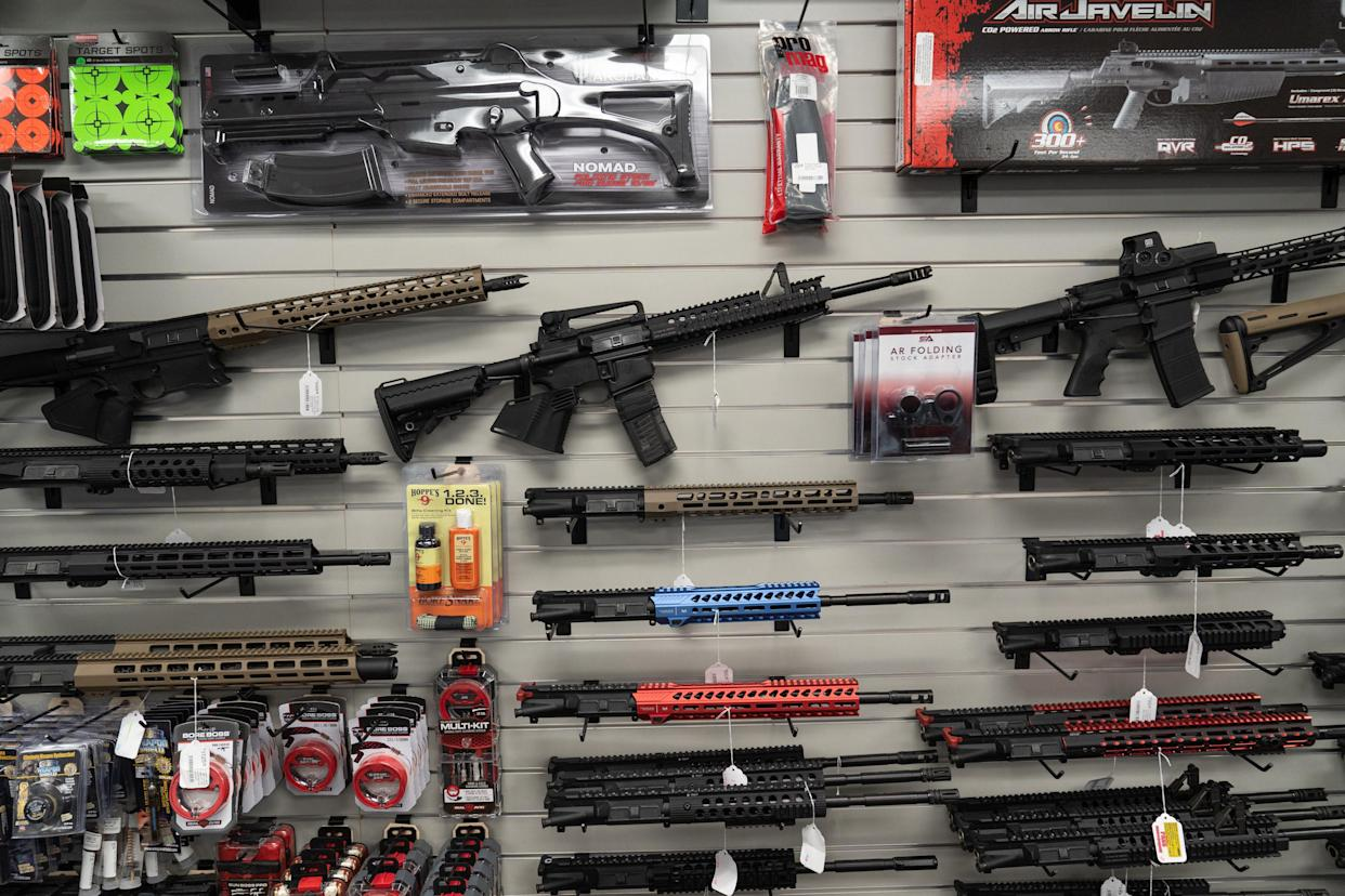 California-compliant AR-15 upper receivers, rifles, and gun accessories for sale at Hiram's Guns / Firearms Unknown store in El Cajon, California, U.S., on Monday, April 26, 2021. (Bing Guan/Bloomberg via Getty Images)
