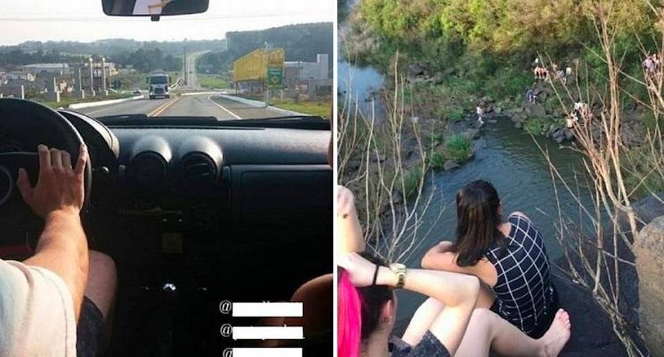 Two teens have fallen to their deaths at a popular tourist spot in Brazil. The pair documented their trip, with the photo on the left showing their drive to the waterfall and on the right is them on a cliff's edge just moments before their death.