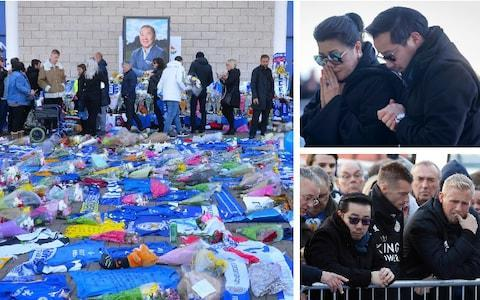 <span>Vichai Srivaddhanaprabha's wife and son pay their respects, top right, before Jamie Vardy, Kasper Schmeichel and the Leicester City squad joined them</span> <span>Credit: Getty Images </span>