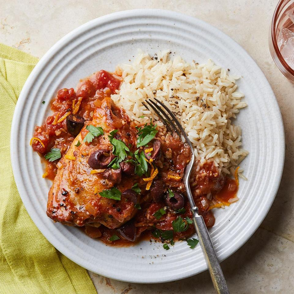 """<p>This technique sears chicken thighs before braising. Serve this vibrant skillet chicken dish with rice or cauliflower rice. <a href=""""http://www.eatingwell.com/recipe/279117/braised-chicken-thighs-with-olive-orange-fennel/"""" rel=""""nofollow noopener"""" target=""""_blank"""" data-ylk=""""slk:View recipe"""" class=""""link rapid-noclick-resp""""> View recipe </a></p>"""