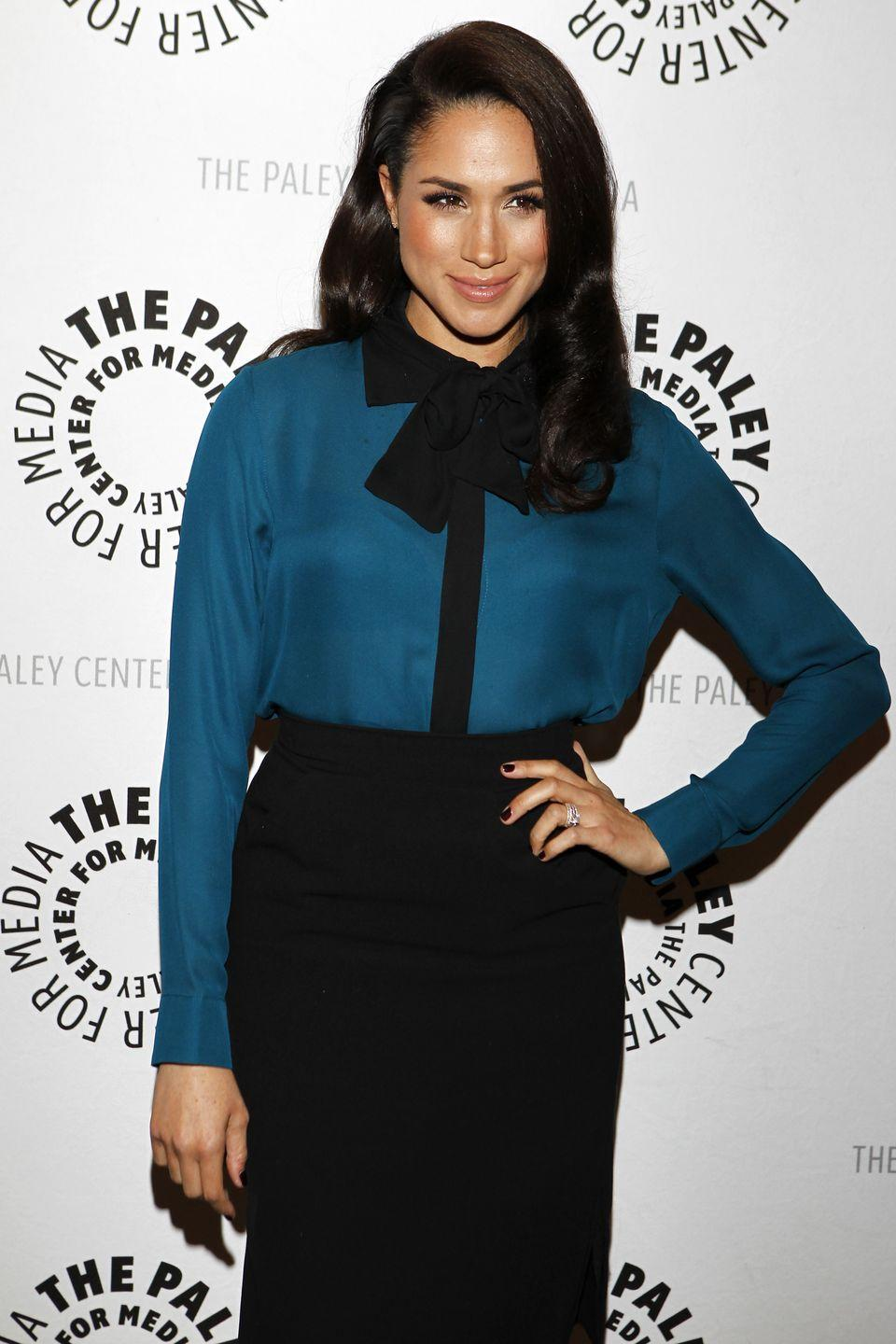 <p>Meghan also took a page out of the <em>Gossip Girl</em> lookbook with her skirt/top combo at a <em>Suits </em>screening years in 2013.</p>
