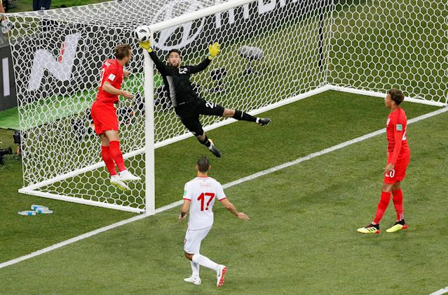 Soccer Football - World Cup - Group G - Tunisia vs England - Volgograd Arena, Volgograd, Russia - June 18, 2018 Tunisia's Mouez Hassen makes a save REUTERS/Gleb Garanich TPX IMAGES OF THE DAY