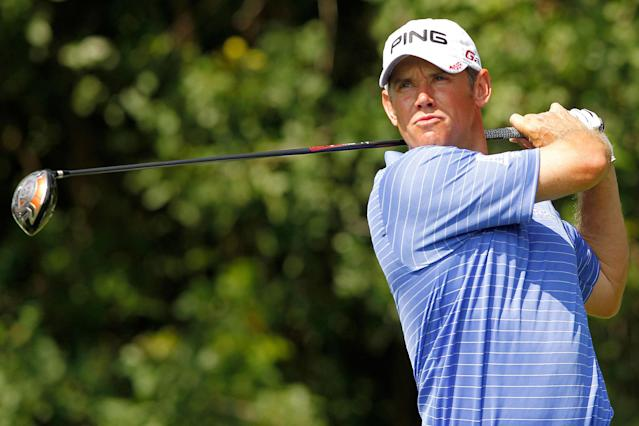 PALM BEACH GARDENS, FL - MARCH 03: Lee Westwood of England hits his tee shot on the third hole during the third round of the Honda Classic at PGA National on March 3, 2012 in Palm Beach Gardens, Florida. (Photo by Mike Ehrmann/Getty Images)
