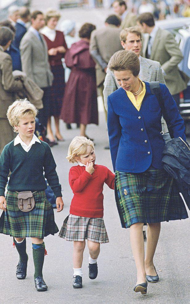 Peter and Zara Phillips with their mother in 1985 - Tim Graham