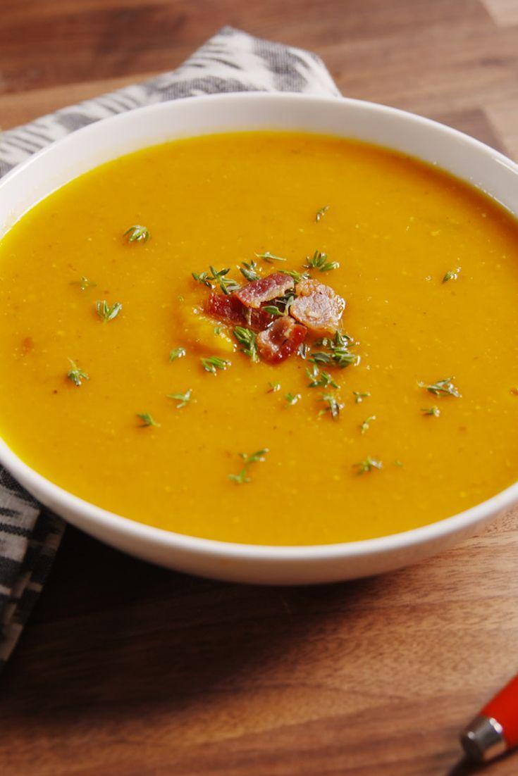 """<p>Basically this soup is the best of fall in a bowl.</p><p>Get the recipe from <a href=""""https://www.delish.com/cooking/recipe-ideas/recipes/a49711/bacon-butternut-squash-soup-recipe/"""" rel=""""nofollow noopener"""" target=""""_blank"""" data-ylk=""""slk:Delish"""" class=""""link rapid-noclick-resp"""">Delish</a>.</p>"""