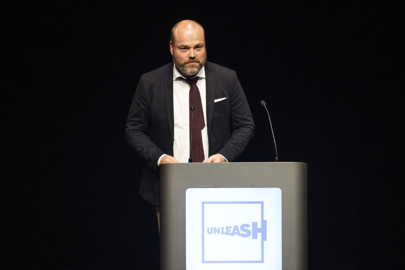 FILE - In this Aug. 21, 2017 file photo, Danish billionaire and owner of fashion business Bestseller Anders Holch Povelsen, in Aarhus, Denmark. The owner of fashion business Bestseller Anders Holch Povelsen lost three out of his four children in Sundays terror attacks in Sri Lanka. (Bo Amstrup/Ritzau Scanpix via AP, file)