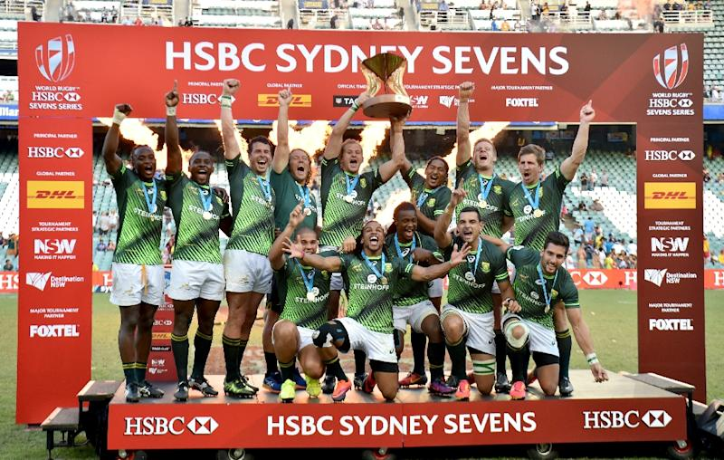 South Africa celebrate beating England in the final of the Rugby Sevens World Series in Sydney on February 5, 2017