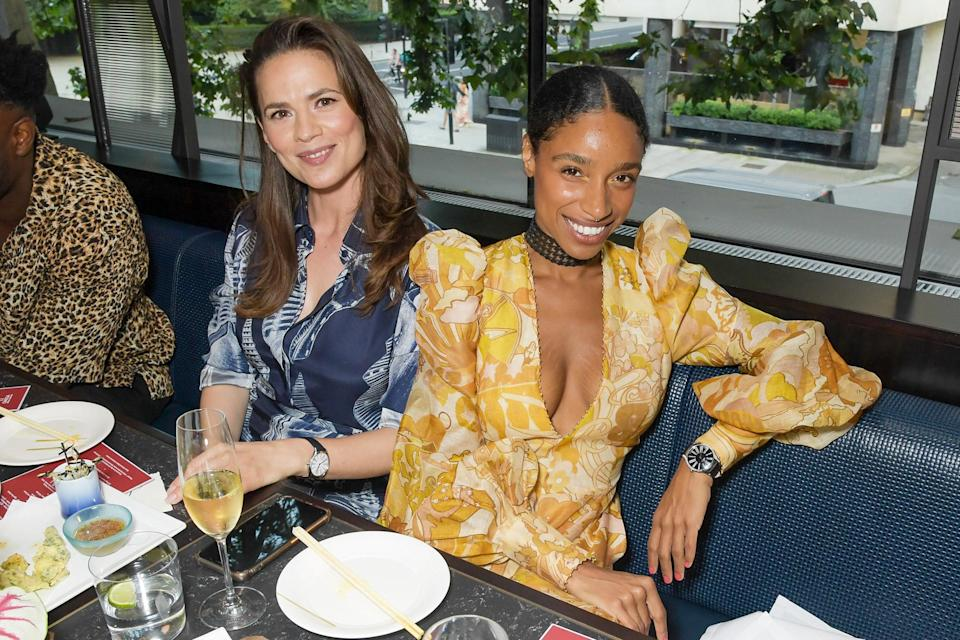 <p>Hayley Atwell and Lianne La Havas attend a traditional Omakase dining experience, hosted by Omega, to celebrate the opening of the Olympic Games at Nobu Hotel on July 22 in London.</p>