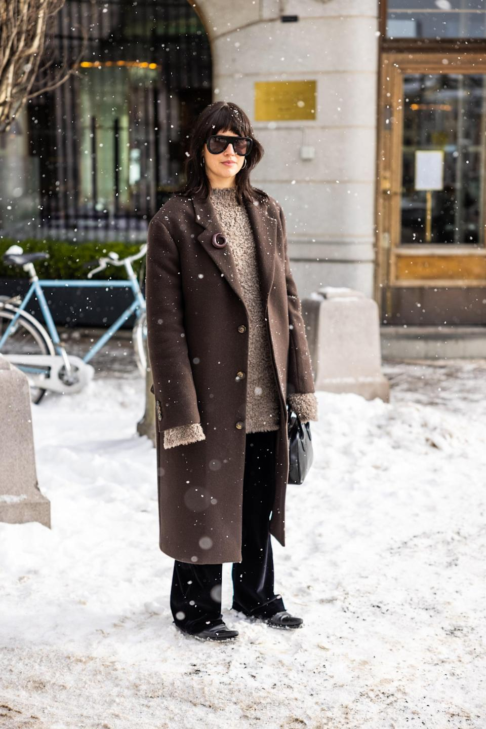 <p>Don't underestimate the power of a brooch on the lapel of your wool coat. It makes an otherwise simple outfit seem considered.</p>
