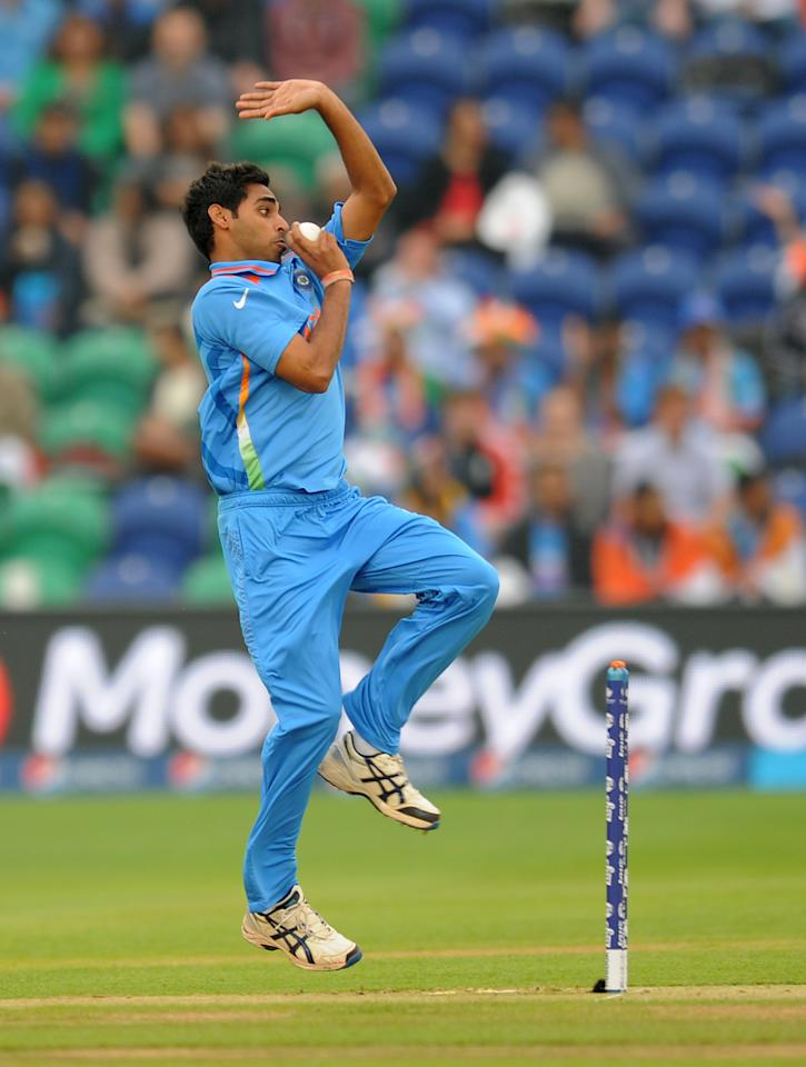 India's Bhuvaneshwar Kumar bowls during the ICC Champions Trophy, Semi Final at the SWALEC Stadium, Cardiff.