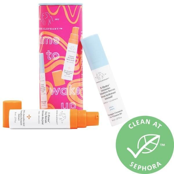 <p>This <span>Drunk Elephant Time to Wake Up Vitamin C + Hydration Serum Duo</span> ($23) offers a double dose of skin-care treats when they mix the vitamin C brightening serum and extramoisturizing vitamin-B5 one together each morning.</p>