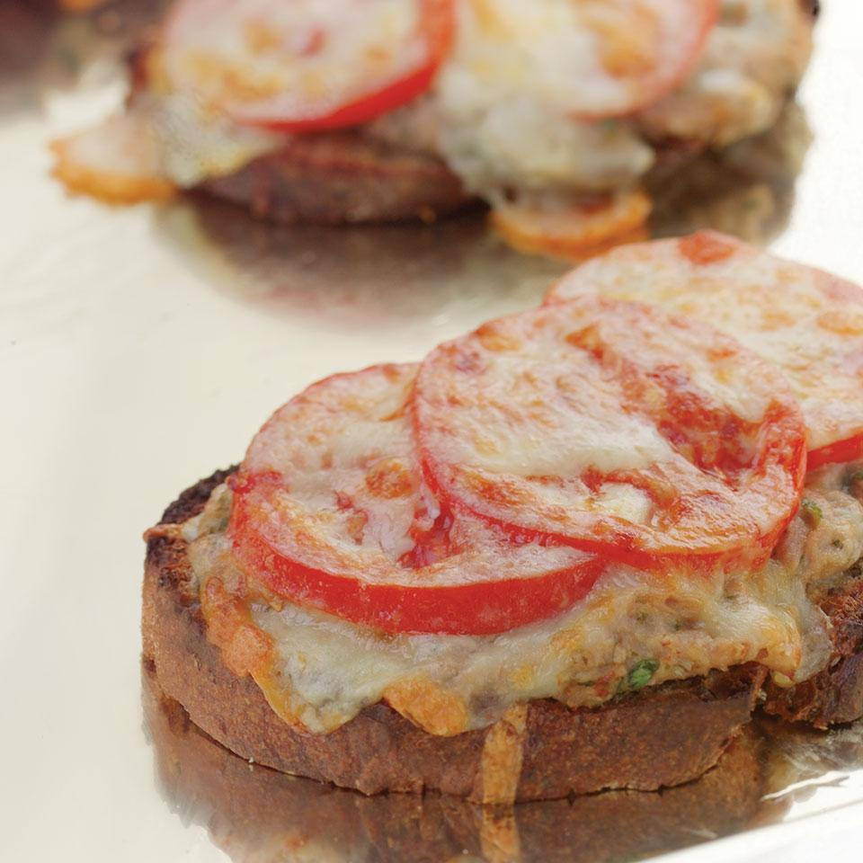 <p>In this updated tuna melt recipe, we go light on the mayo and top it with fresh tomato slices and shredded sharp Cheddar. This allows us to use considerably less cheese while ensuring that there's great cheese flavor in each gooey bite of this healthy tuna melt recipe.</p>