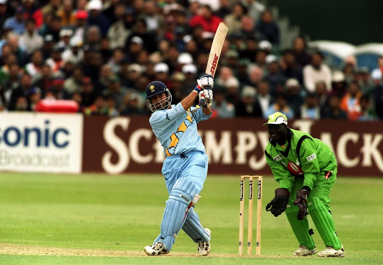 23 May 1999:  Sachin Tendulkar of India bats during the Cricket World Cup Group A match against Kenya played in Bristol, England. India won the game by 94 runs. Mandatory Credit: Craig Prentis/ALLSPORT