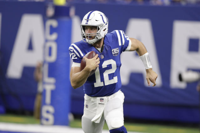 Indianapolis Colts quarterback Andrew Luck could have a rough return to the field behind an offensive line that's a work in progress. (AP Photo/Michael Conroy, File)