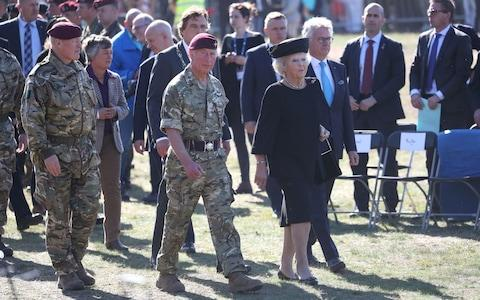 Prince Charles attends the airborne commemorations on Ginkel Heath near Ede with Princess Beatrix of The Netherlands