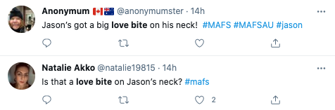 MAFS fans took to Twitter after spotting Jason's alleged 'love bite'. Photo: Twitter.