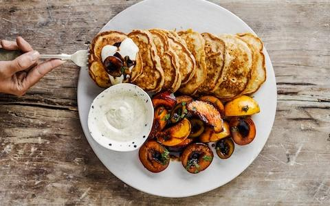 Buttermilk pancakes with balsamic-cured stone fruit