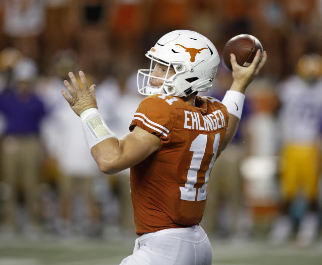 Texas Longhorns quarterback Sam Ehlinger #11 passes against the LSU Tigers Saturday Sept. 7, 2019 at Darrell K Royal-Texas Memorial Stadium in Austin, Tx. ( Photo by Edward A. Ornelas )