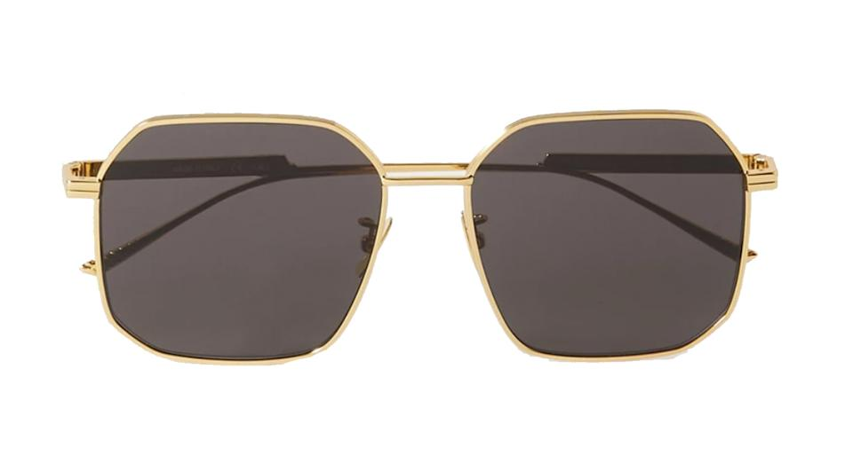 BOTTEGA VENETA Octagon-frame gold-tone metal sunglasses