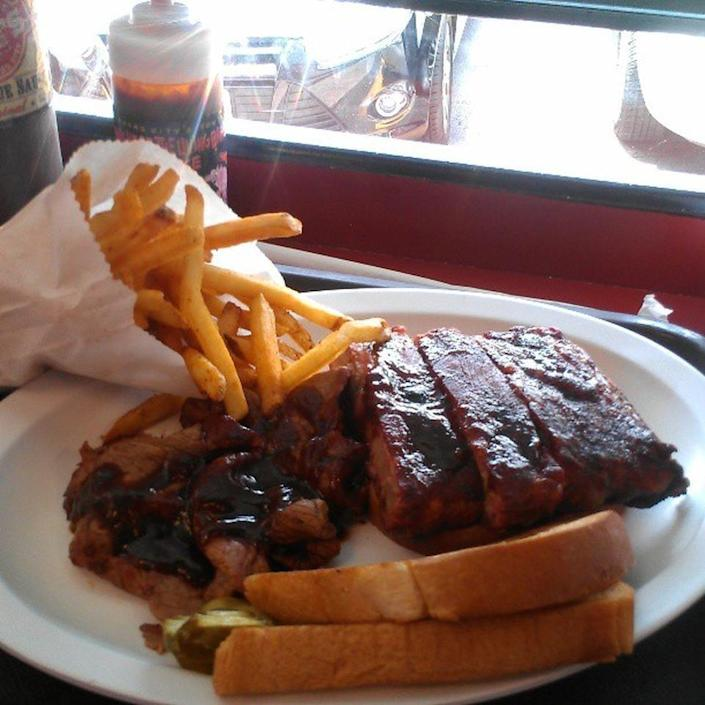 """<p><a href=""""https://www.joeskc.com/"""" rel=""""nofollow noopener"""" target=""""_blank"""" data-ylk=""""slk:Joe's Kansas City Bar-B-Que"""" class=""""link rapid-noclick-resp"""">Joe's Kansas City Bar-B-Que</a>, Kansas City</p><p>""""KC's best!! Z-Man is always great. Killer fries as they are, or ask for extra seasoning. Ribs: YUM! Try meat by the pound, everything's terrific here. Get the half chicken. Wow!! Best BBQ sauce, too."""" -Foursquare user <a href=""""https://foursquare.com/user/92217100"""" rel=""""nofollow noopener"""" target=""""_blank"""" data-ylk=""""slk:Susan Wellford"""" class=""""link rapid-noclick-resp"""">Susan Wellford</a></p>"""